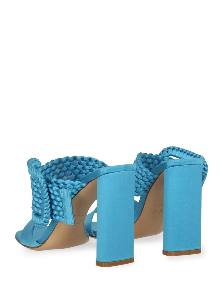 Casadei Women Sandals Blue Fabric EU 38 In Good Condition For Sale In Milan, IT