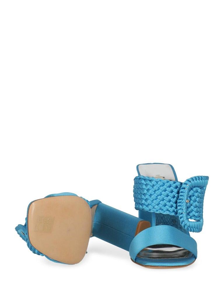 Women's Casadei Women Sandals Blue Fabric EU 38 For Sale