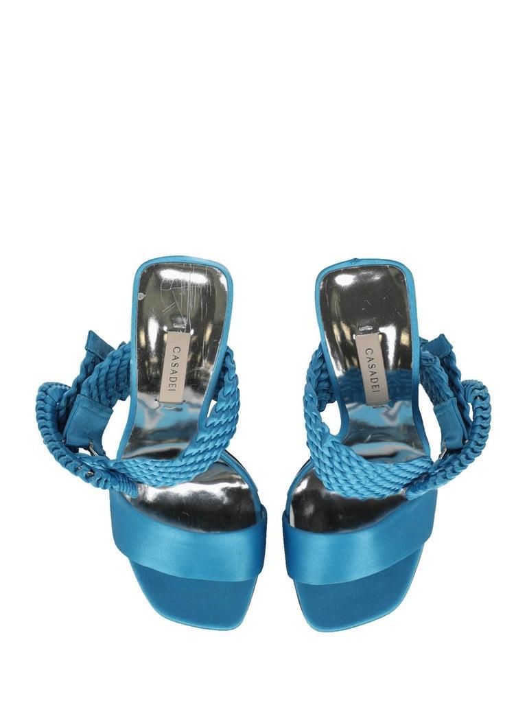 Casadei Women Sandals Blue Fabric EU 38 For Sale 1