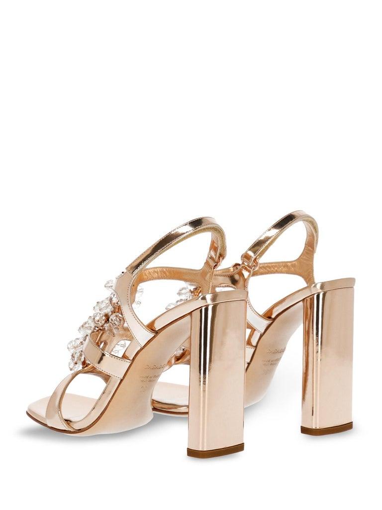 Beige Casadei Women Sandals Bronze Leather EU 35.5