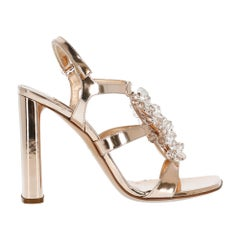 Casadei Women's Sandals Bronze Leather Size IT 37