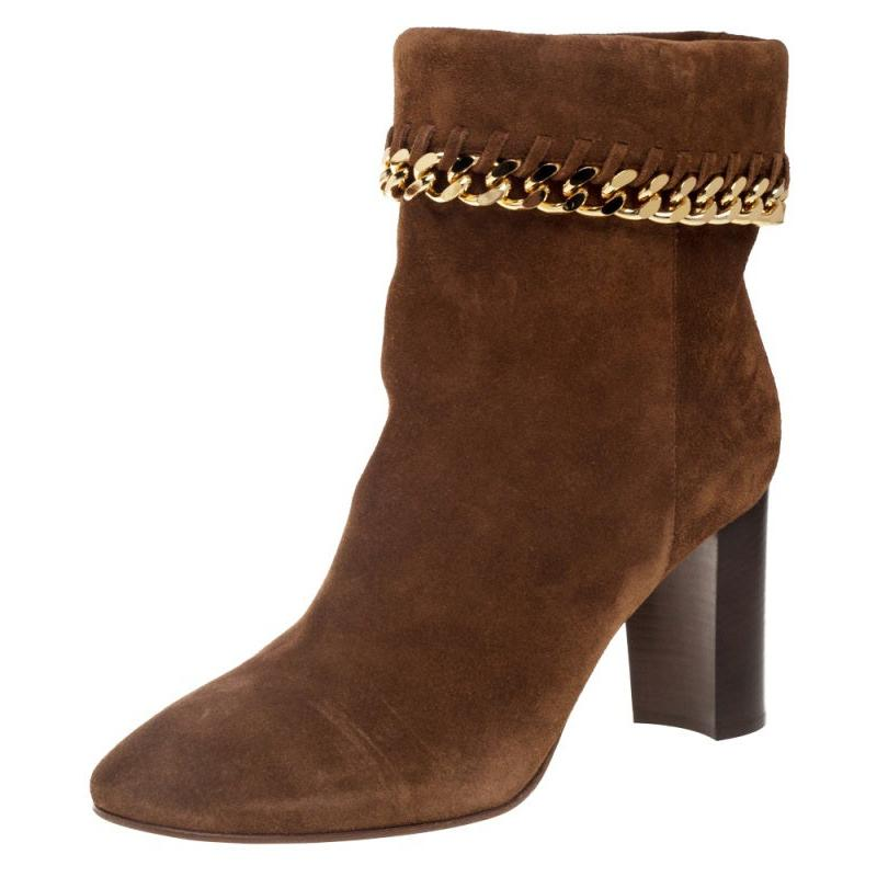 Casadel Tan Suede Chain Ankle Boots Size 39