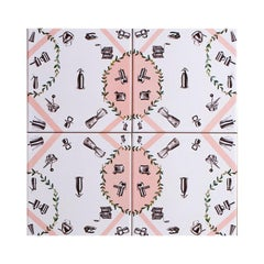 """Casalingo"" Tiles, Pink Pattern, Made in Italy"