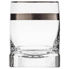 Casanova Crystal Whisky Tumbler with Platinum Decor, 10.14 Oz