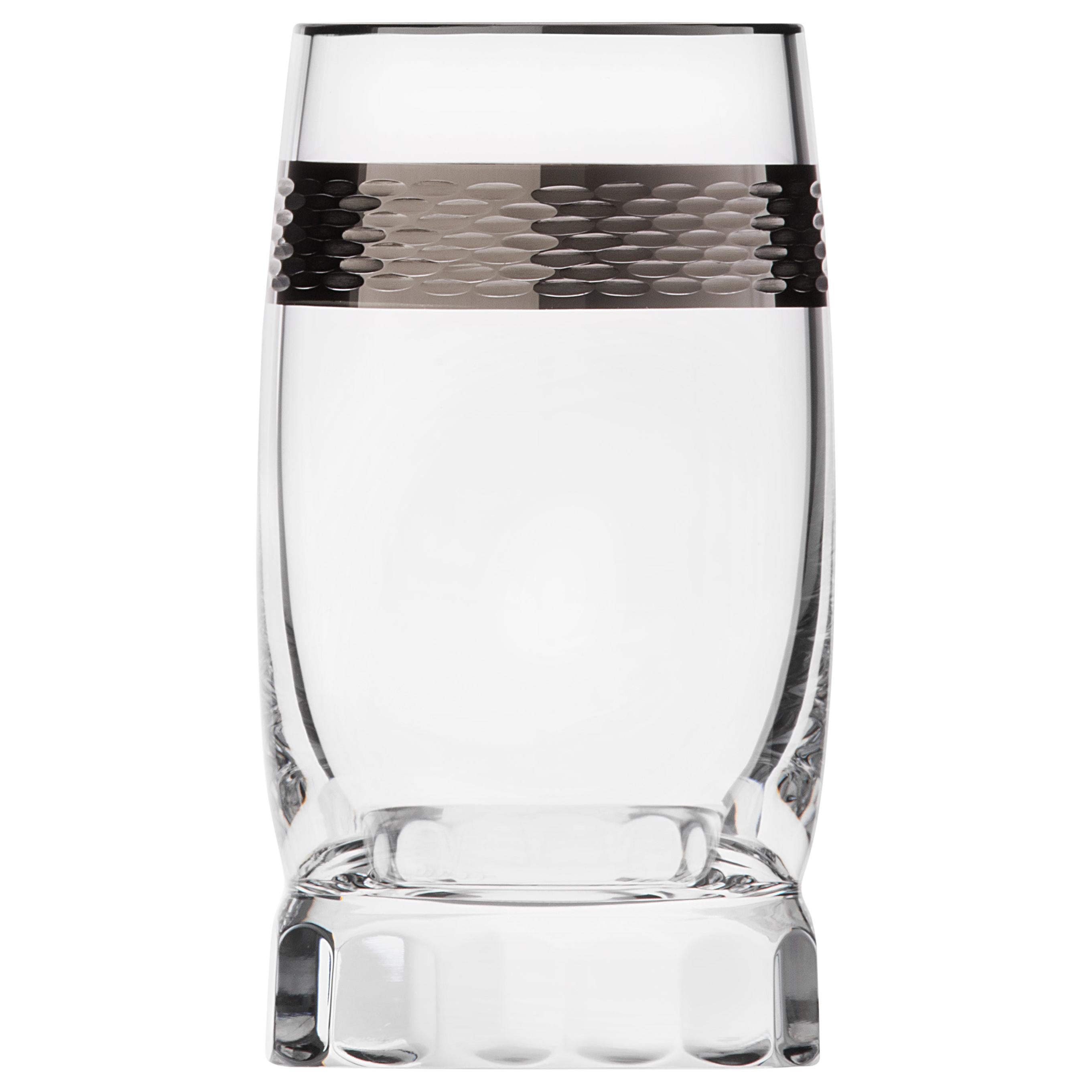 Casanova Distillate Lead-Free Crystal Tumbler with Platinum Decor, 2.36 oz
