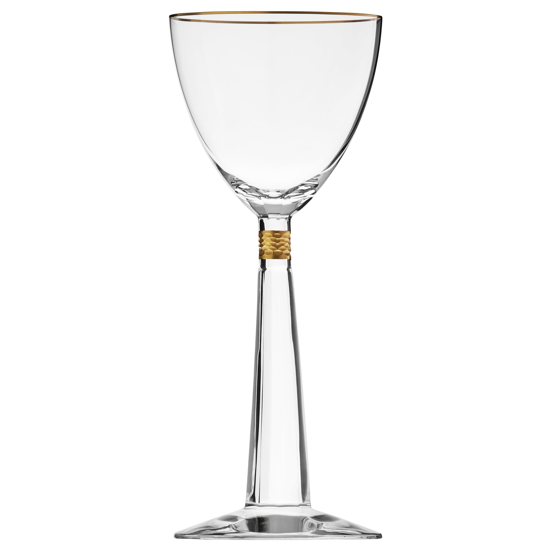 Casanova White Wine Crystal Goblet with Gold Decor, 7.43 oz
