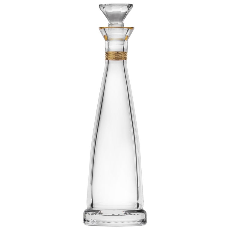 Casanova Wine Decanter Lead-Free Crystal Clear with Gold Decor, 1 qt. For Sale