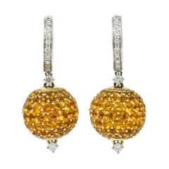 Casato 18.55 Carats Orange Sapphire Diamond 18 Karat White Gold Pave Earrings