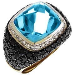 Casato Cushion Cut Blue Topaz Black White Diamonds 18 Karat Gold Dome Ring