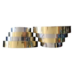 Cascade Brass & Chrome Sconces in the manner of Paul Evans, Offered by La Porte