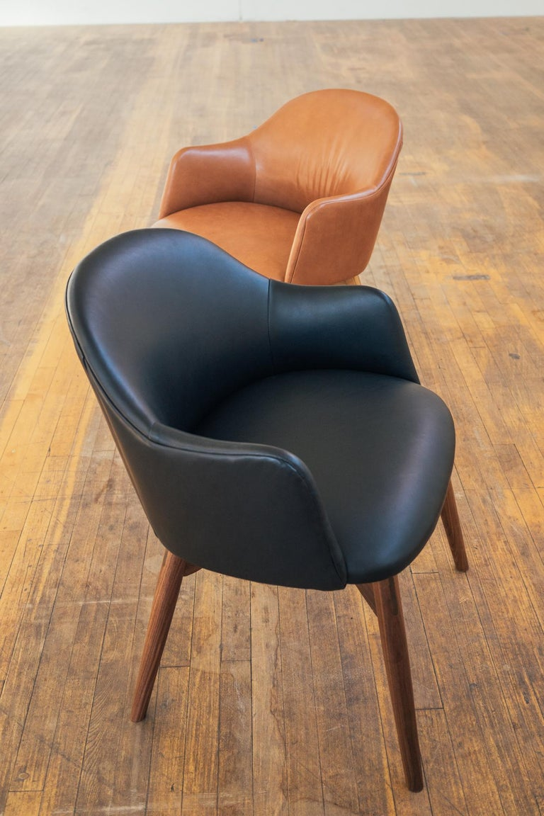 Modern Cascade Club Chair, Prototype Upholstered in Black Leather with Walnut Base For Sale