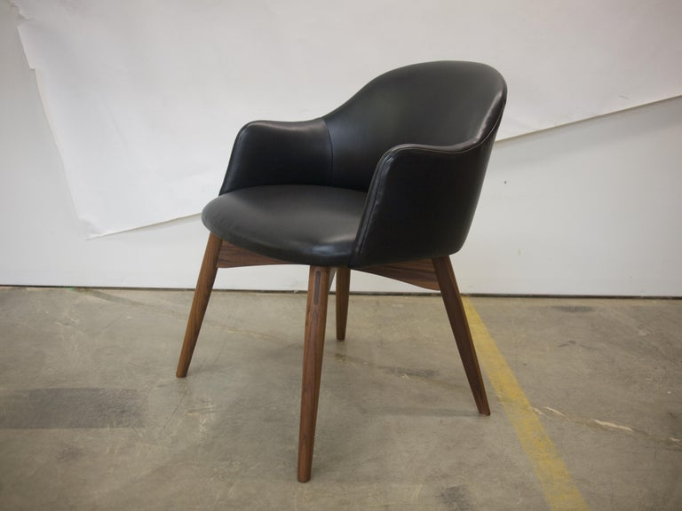 American Cascade Club Chair, Prototype Upholstered in Black Leather with Walnut Base For Sale