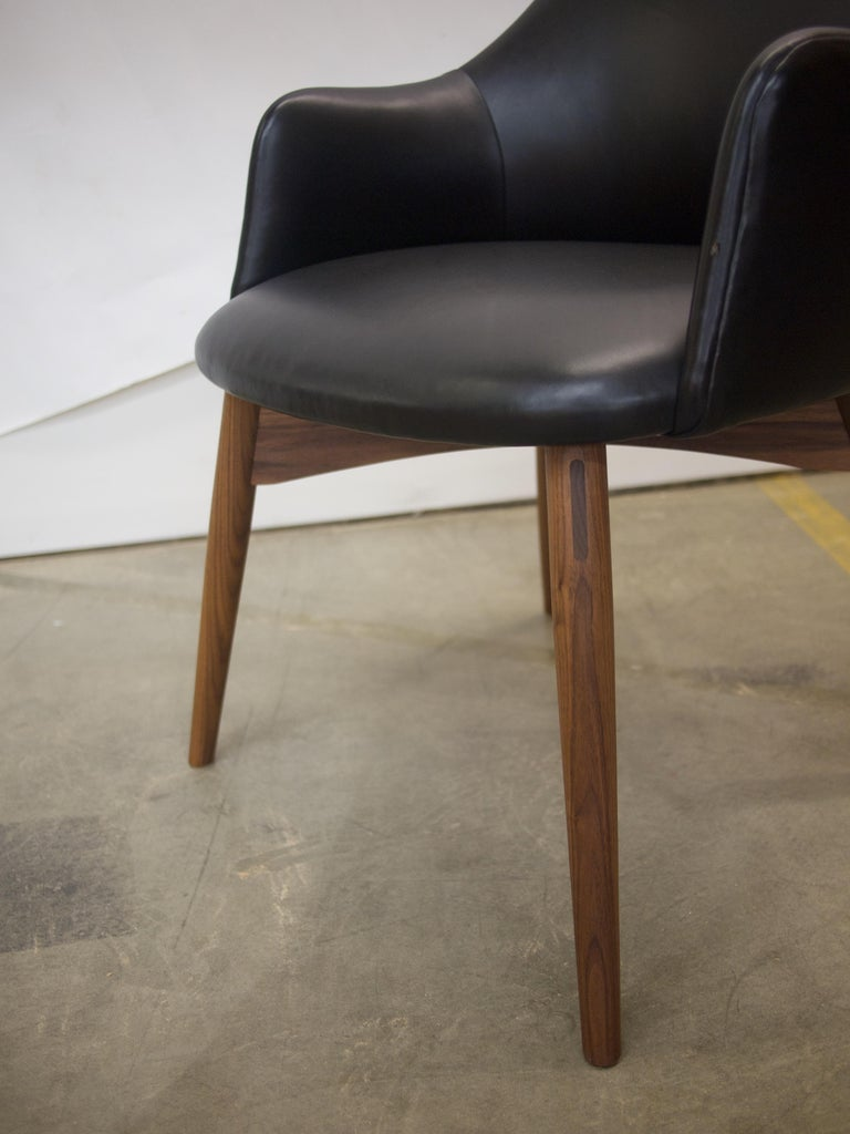 Joinery Cascade Club Chair, Prototype Upholstered in Black Leather with Walnut Base For Sale