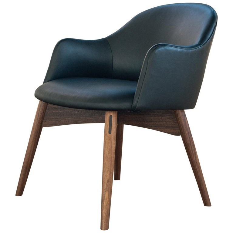 Cascade Club Chair, Prototype Upholstered in Black Leather with Walnut Base For Sale
