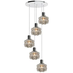Cascade Light Fixture with Five Pedant Lights by Helena Tynell, 1970s