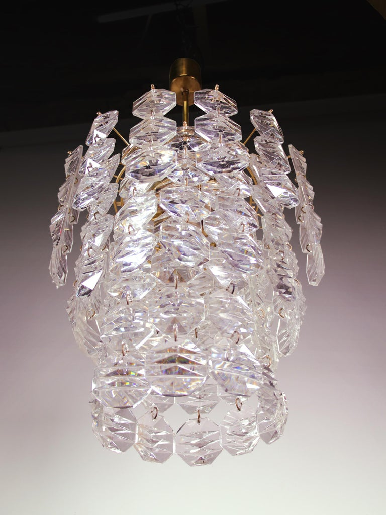 Mid-20th Century Waterfall Chandelier Brass & Crystal Prisms by Kinkeldey, Germany 1960s For Sale