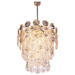 Waterfall Chandelier Brass & Crystal Prisms by Kinkeldey, Germany 1960s