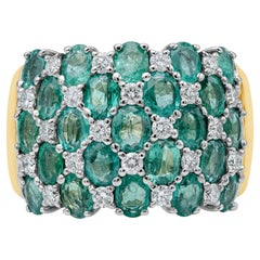 Cascading Diamond and Green Emerald Ring