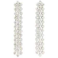 Cascading Diamond Drop 18 Karat White Gold Earrings