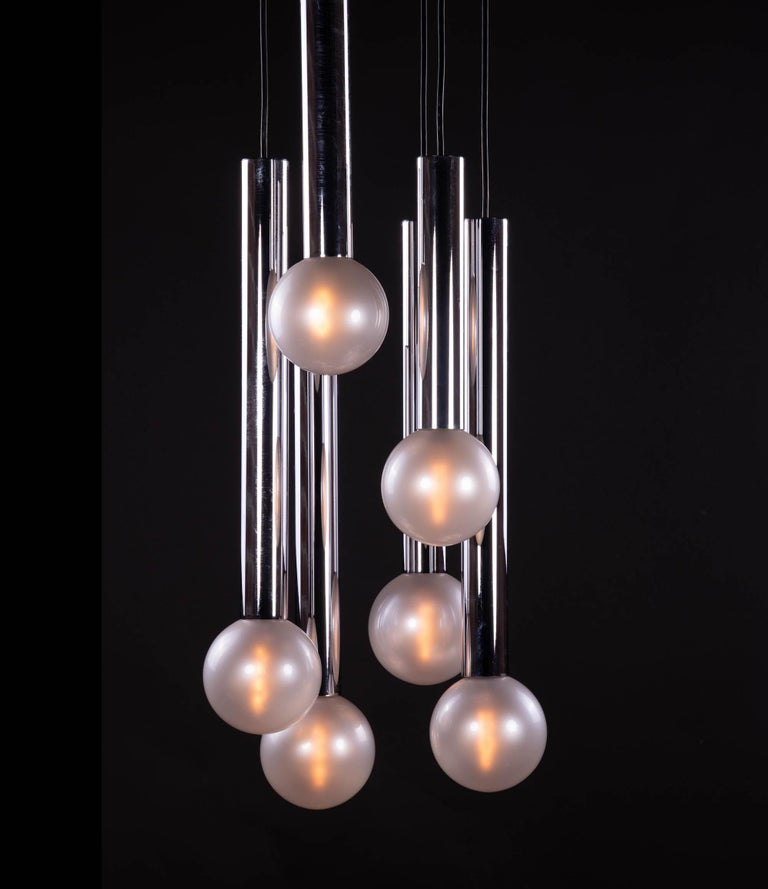 Mid-Century Modern Cascading Mother of Pearl Pendant Lamp Glass & Chrome, Motoko Ishii, Staff 1970s For Sale