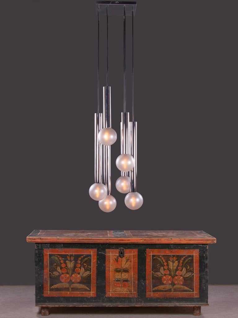 Cascading Mother of Pearl Pendant Lamp Glass & Chrome, Motoko Ishii, Staff 1970s For Sale 2