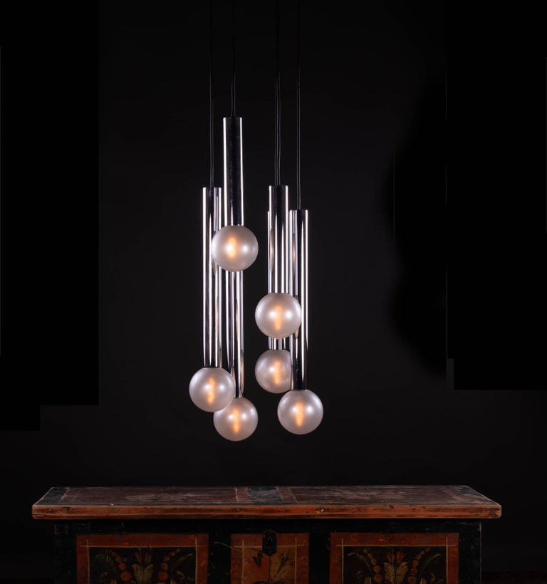 Cascading Mother of Pearl Pendant Lamp Glass & Chrome, Motoko Ishii, Staff 1970s For Sale 5