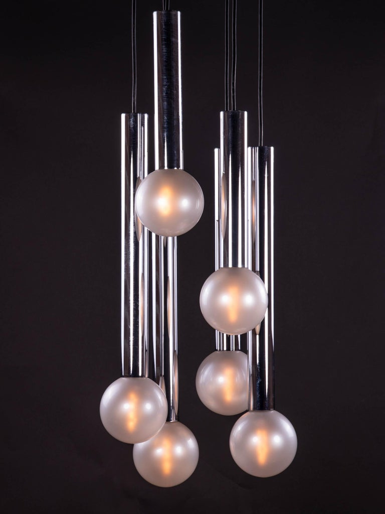 Blown Glass Cascading Mother of Pearl Pendant Lamp Glass & Chrome, Motoko Ishii, Staff 1970s For Sale