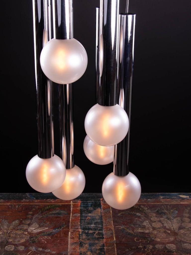 Cascading Mother of Pearl Pendant Lamp Glass & Chrome, Motoko Ishii, Staff 1970s In Good Condition For Sale In Niederdorfelden, Hessen