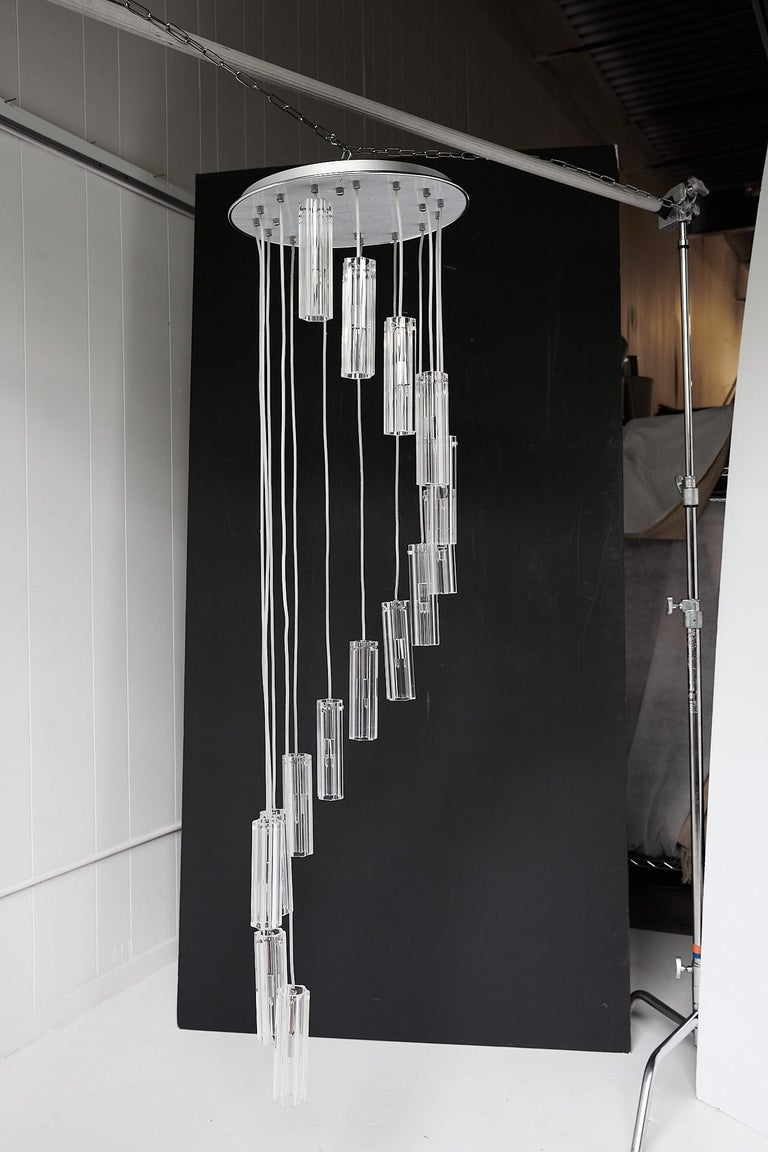 Cascading Glass Pendant Chandelier For Sale 5