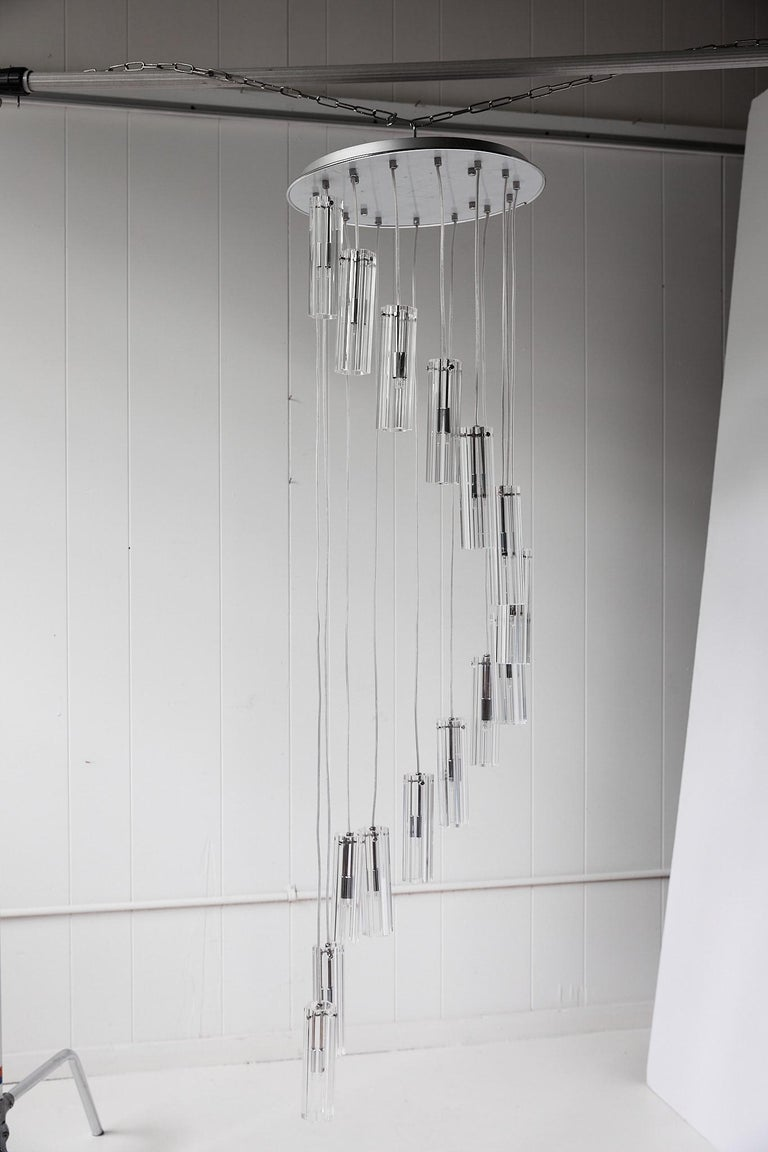 Cascading Glass Pendant Chandelier For Sale 6