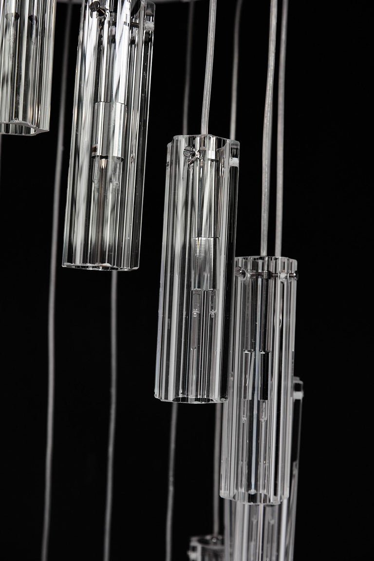 Cascading Glass Pendant Chandelier For Sale 2