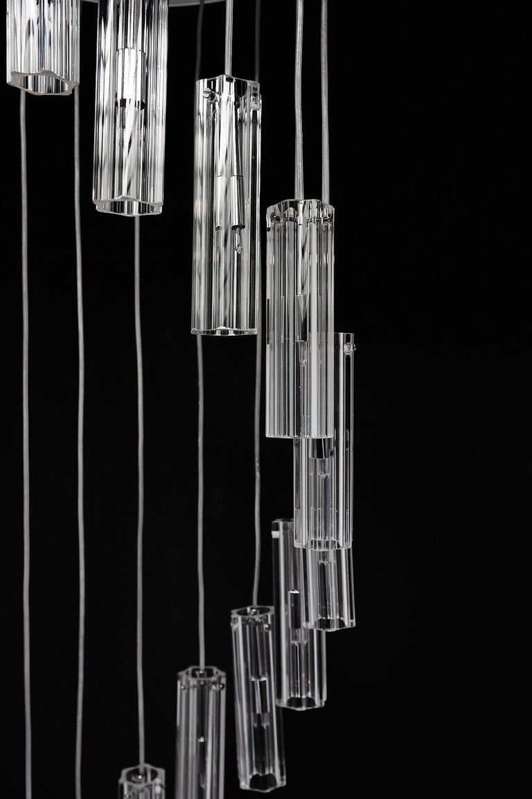 Cascading Glass Pendant Chandelier For Sale 4