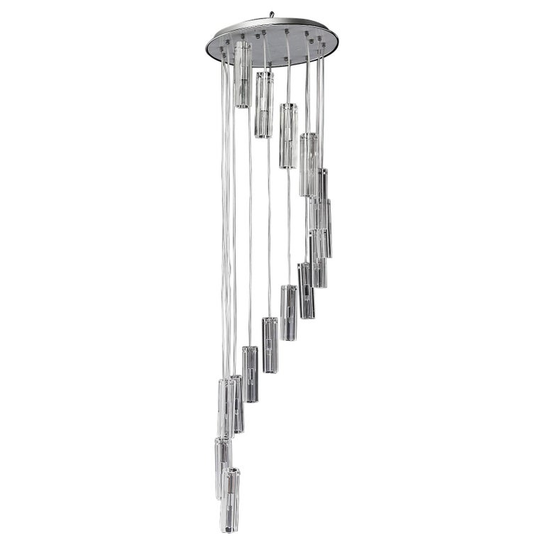Cascading Glass Pendant Chandelier For Sale