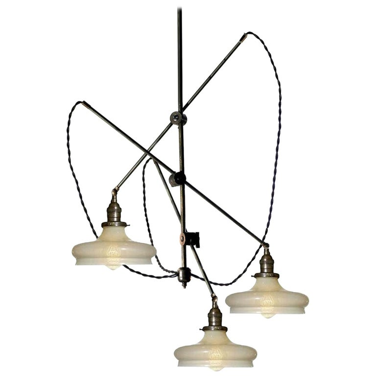 Cascading Industrial Articulated Chandelier For Sale