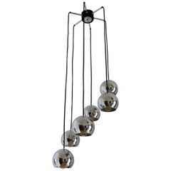 Cascading Pendant Spider Light Chandelier with Six Chrome Spheres, Germany 1970s