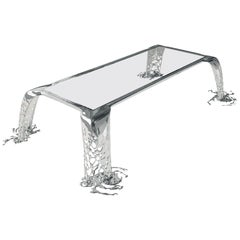 Cascatta Stainless Steel Mirror Polish and Glass Dining Table
