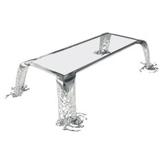 Cascatta Mirror Polish Glass Dining Table