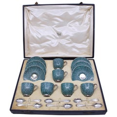 Cased Royal Worcester Demitasse and Saucer Set with Silver Spoons