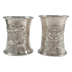 Cased Pair of Arts & Crafts Silver Napkin Rings, Omar Ramsden & Alwyn Carr, 1916