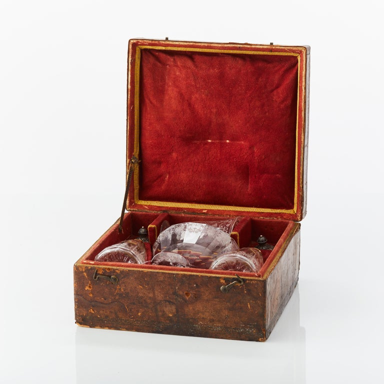 Rococo Cased Travelling Set of Engraved Glass Silesia, circa 1720 For Sale