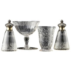 Cased Travelling Set of Engraved Glass Silesia, circa 1720