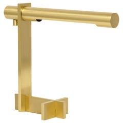 Casella Desk Lamp, Brushed Brass, Cantilevered, Signed