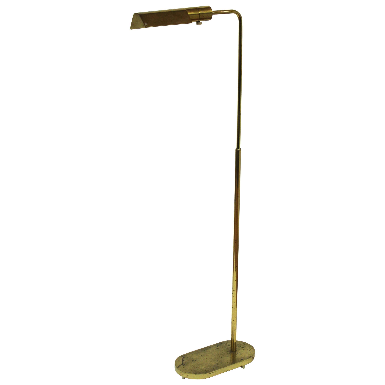 Casella Mid-Century Modern Brass Pharmacy Floor Lamp