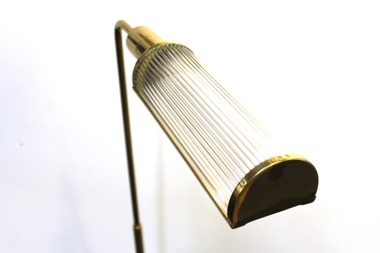 Casella Modern Brass Floor Lamp with Glass Rod Shade For Sale 1