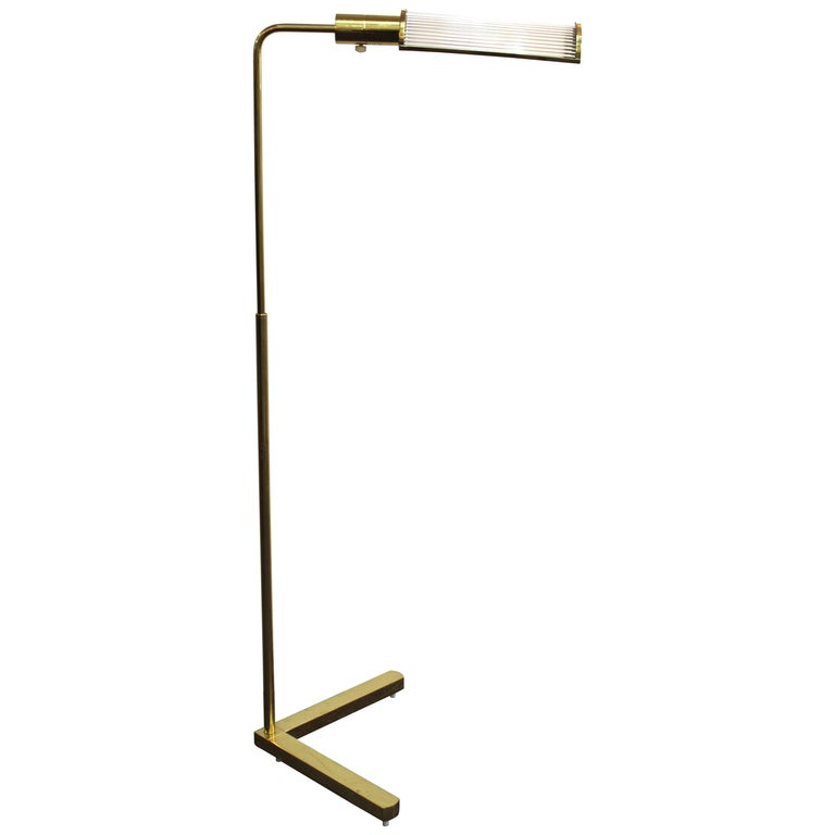 Casella Modern Brass Floor Lamp with Glass Rod Shade For Sale