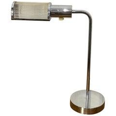 Casella Polished Chrome and Glass Rod Desk Lamp