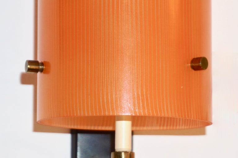 Casey Fantin 1950s Italian Pair of Modernist Orange Striped Glass Wall Lights In Good Condition For Sale In New York, NY