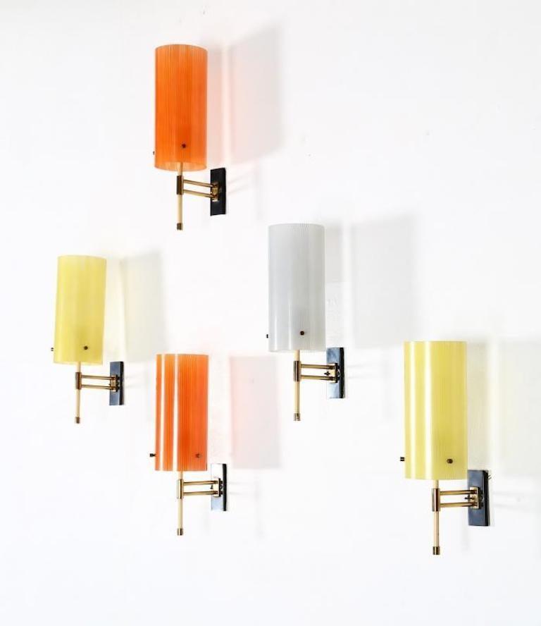 Casey Fantin 1950s Italian Pair of Modernist Orange Striped Glass Wall Lights For Sale 1