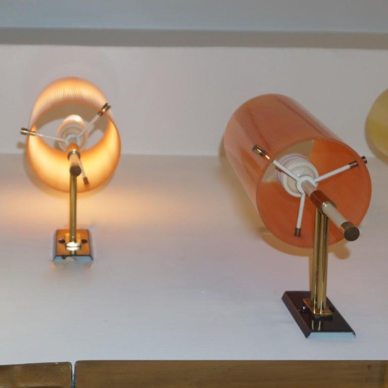 Brass Casey Fantin 1950s Italian Pair of Modernist Orange Striped Glass Wall Lights For Sale