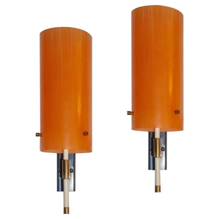 Casey Fantin 1950s Italian Pair of Modernist Orange Striped Glass Wall Lights For Sale